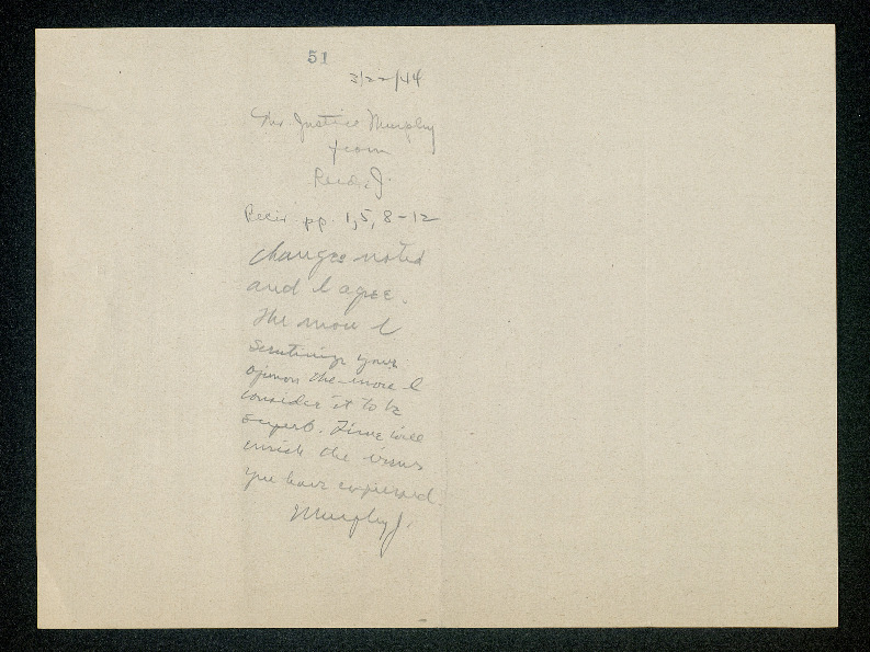 Inscription from Frank Murphy to Stanley Reed on draft <em>Allwright</em> opinion<em><br /></em>
