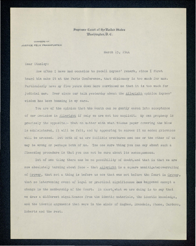 Letter from Felix Frankfurter to Stanley Reed regarding <em>Smith v. Allwright</em> (1944)